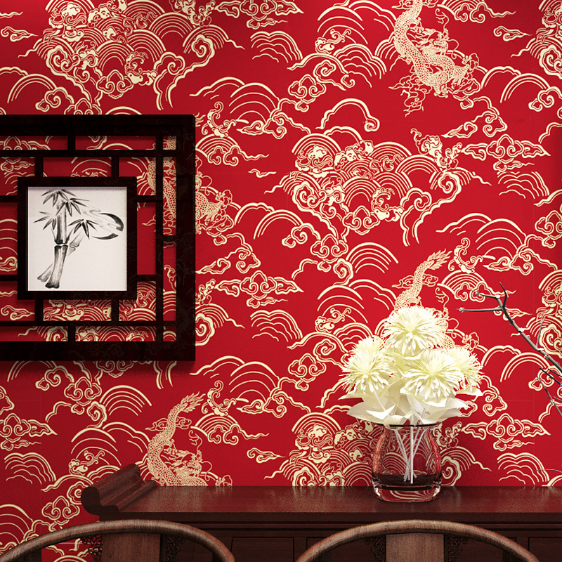 Chinese Red Wallpaper Dragon Pattern Wallappers Chinese Style Classical PVC Waterproof Teahouse Restaurant Decoration Wallpaper