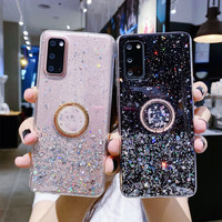 Epoxy Gold Folie Fall Für Huawei Y5P Y6P Y7P Y8S Ring Halter Abdeckung Fall Für Y5 Y6 Y7 Y8 Y9 prime 2018 2019 Silikon Telefon Coque