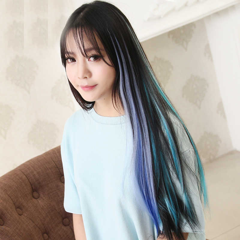 Synthetic Hair  Color Strips Long Straight Single Clip In One Piece Hair Extensions Heat Resistant Women Hair Pieces