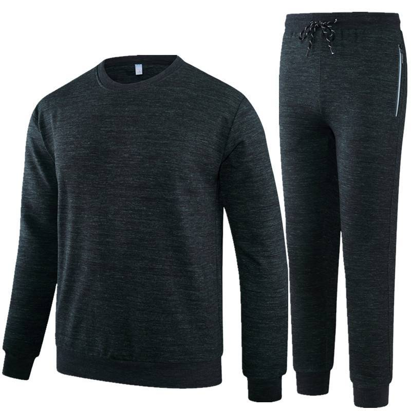 Men And Women Sports Set Middle-aged Large Size Casual Daddy Clothes Mom Running Pure Cotton Round Neck Sweater Trousers