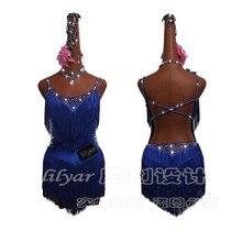 Robe de danse latine en strass brillants, Costumes Salsa pour femmes, danse latine, haut de gamme, sur mesure, bleu Fluorescent, avec pompons