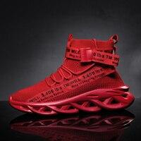 Модная мужская повседневная обувь с высоким берцем; удобные дышащие кроссовки из сетчатого материала; уличная Нескользящая трендовая обув...