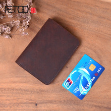 AETOO Original handmade wallet short mens leather suede crazy horse simple retro cross section