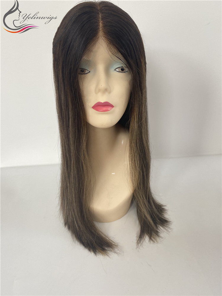 Natural 4# With Highlight Color Silky Straight Hair Lace Top Wigs With Free Shipping