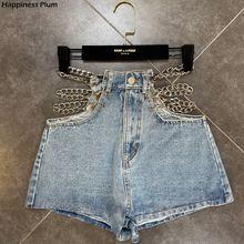 Denim Shorts Side-Chain-Decoration Womens Jeans Ladies Clothes High-Waist Summer Fashion