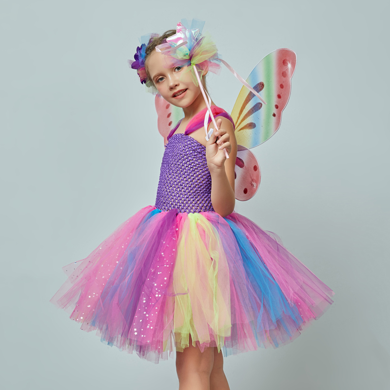 Girls Butterfly Fairy Fancy Tutu Dress Wings Costume Kids Princess Birthday Party Dress Halloween Cosplay Kids Spring Tulle Dress (8)