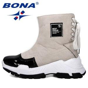 Image 4 - BONA 2019 nowi projektanci mody przypadkowi buty damskie buty skórzane buty grube obcasie buty śniegowce Femme damskie buty wygodne