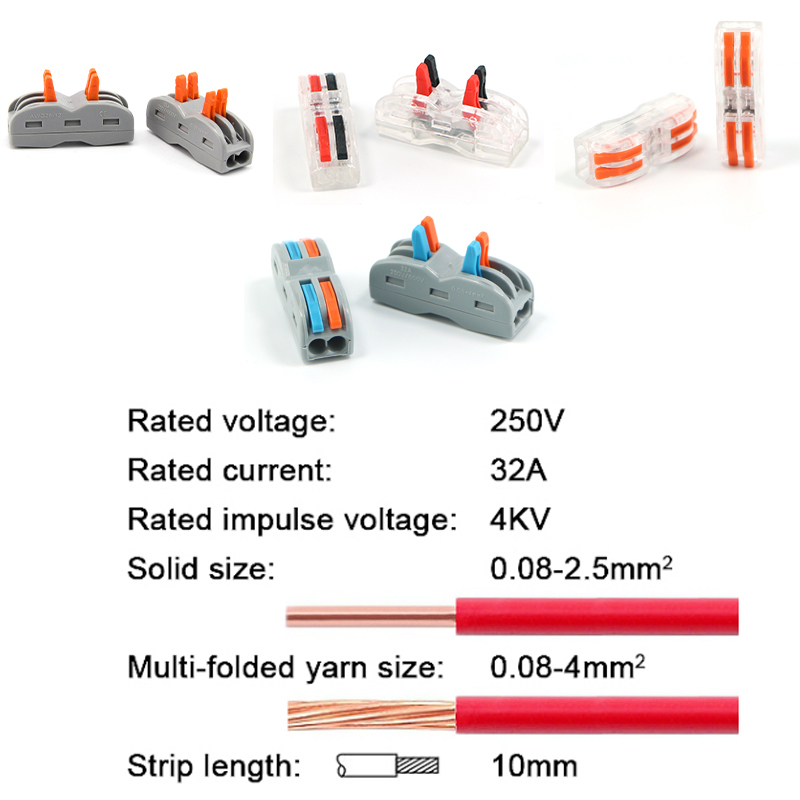 Image 2 - Electrical Cable Wire Connector Push in Terminal Block Universal Fast Wiring For Connection SPL/2 5pcs/10pcs/15pcsConnectors   -