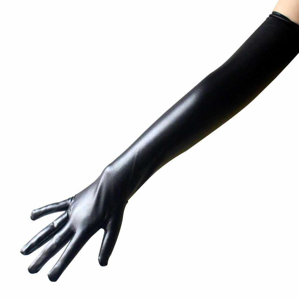Unisex negro blanco Sexy guantes largos de cuero de rendimiento largo guantes apretados fetiche Faux cuero guantes Clubwear mitones  