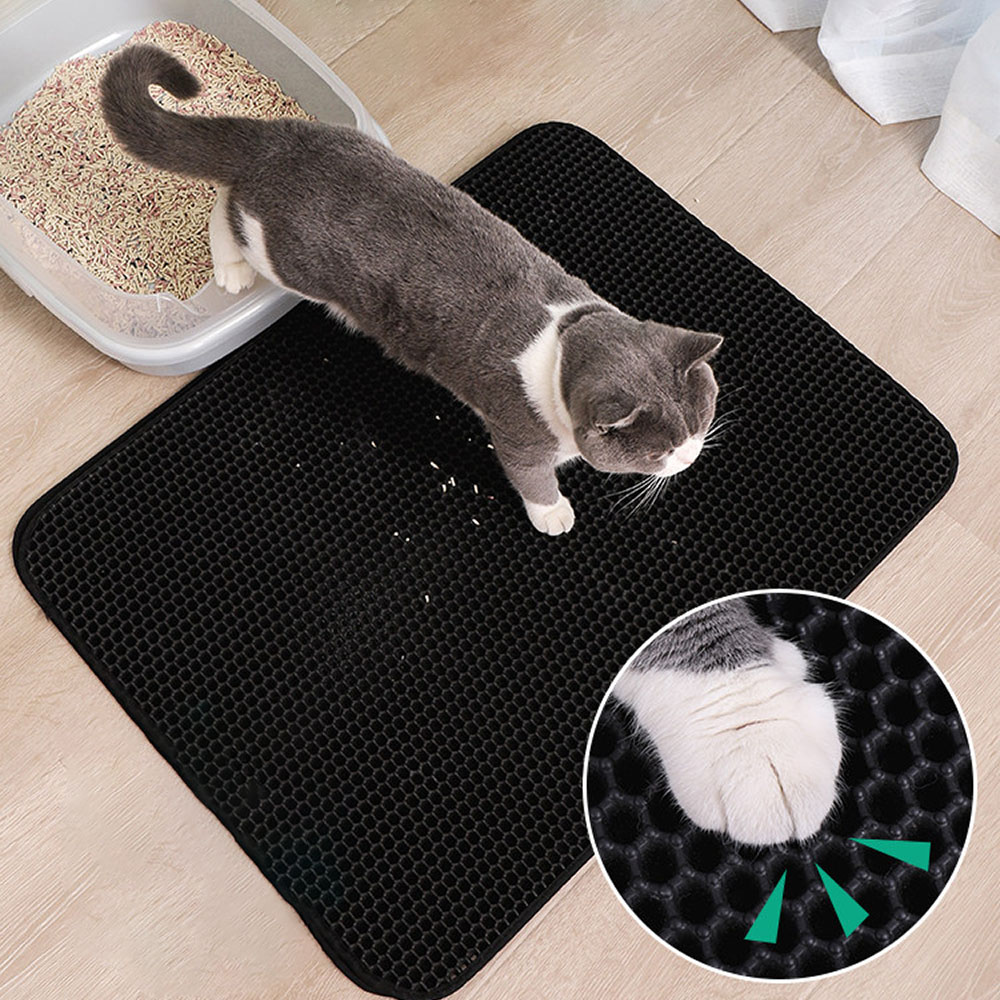 Pet Cat Litter Mat EVA Double-Layer Cat Litter Trapper Mats With Waterproof Bottom Non-slip Pet Litter Cat Mat Layer Kattenmand
