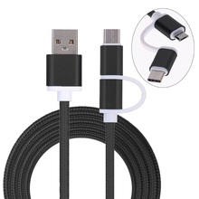 2-In-1 USB 2.0 Male To USB 3.1 Type C/Micro USB Weave Data Fast Charging Cable X6HB цена