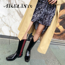 AIKEINYU New Autumn Women Mid-Calf Boots Fashion Metal Square Toe High Heel Boots Woman Chic Knight Boots Patchwork Western Boot цены