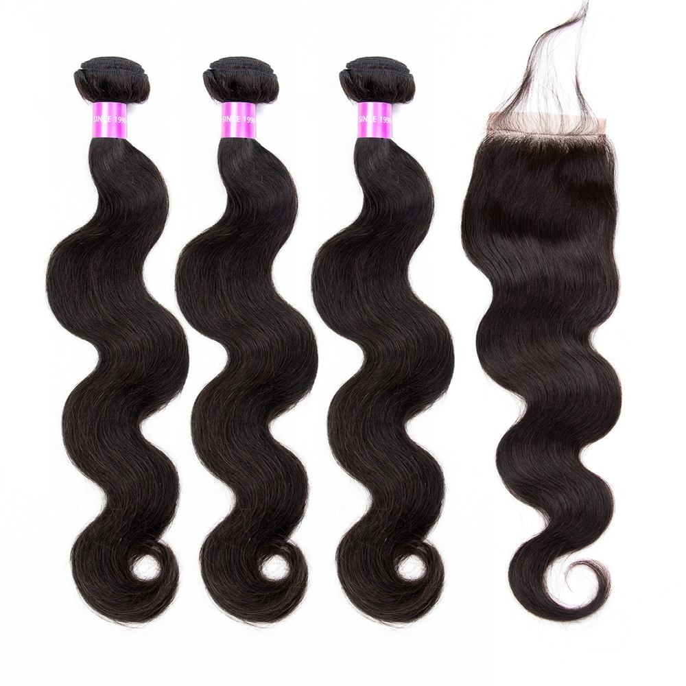 Brazilian Hair Body Wave 3 Bundles With Lace Closure Riverwood Hair 100% Remy Human Hair Bundles With Closure Fast Shipping