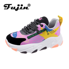 Fujin Platform Sneakers Women Spring Thick Bottom Fashion Muffin Breathable Lace Round Toe Leisure Shoes