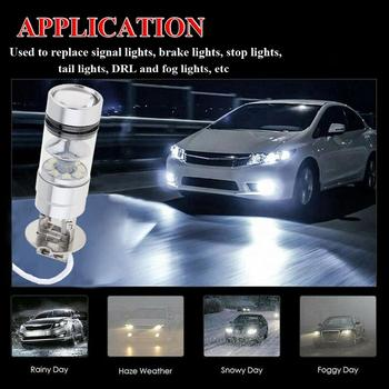 2 Pcs H3 LED Fog Light 100W Super Bright Chips Car Driving Bulb 12/24V White Running Lights Car Fog Lights Car Accessories image