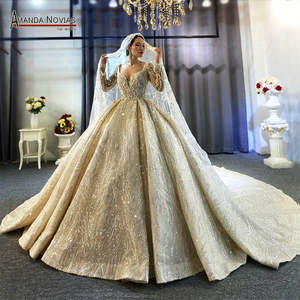 Wedding-Dress Long-Sleeves Full-Beading with Real-Work High-Quality Hot-Sale