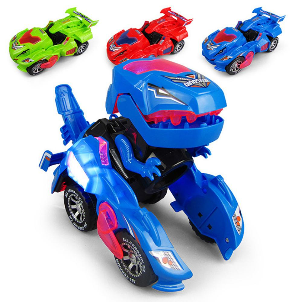 Dinosaur Deformation Car Electric Toy Universal Wheel Transformation Robot Vehicle With Lights Sounds Gift For Kids