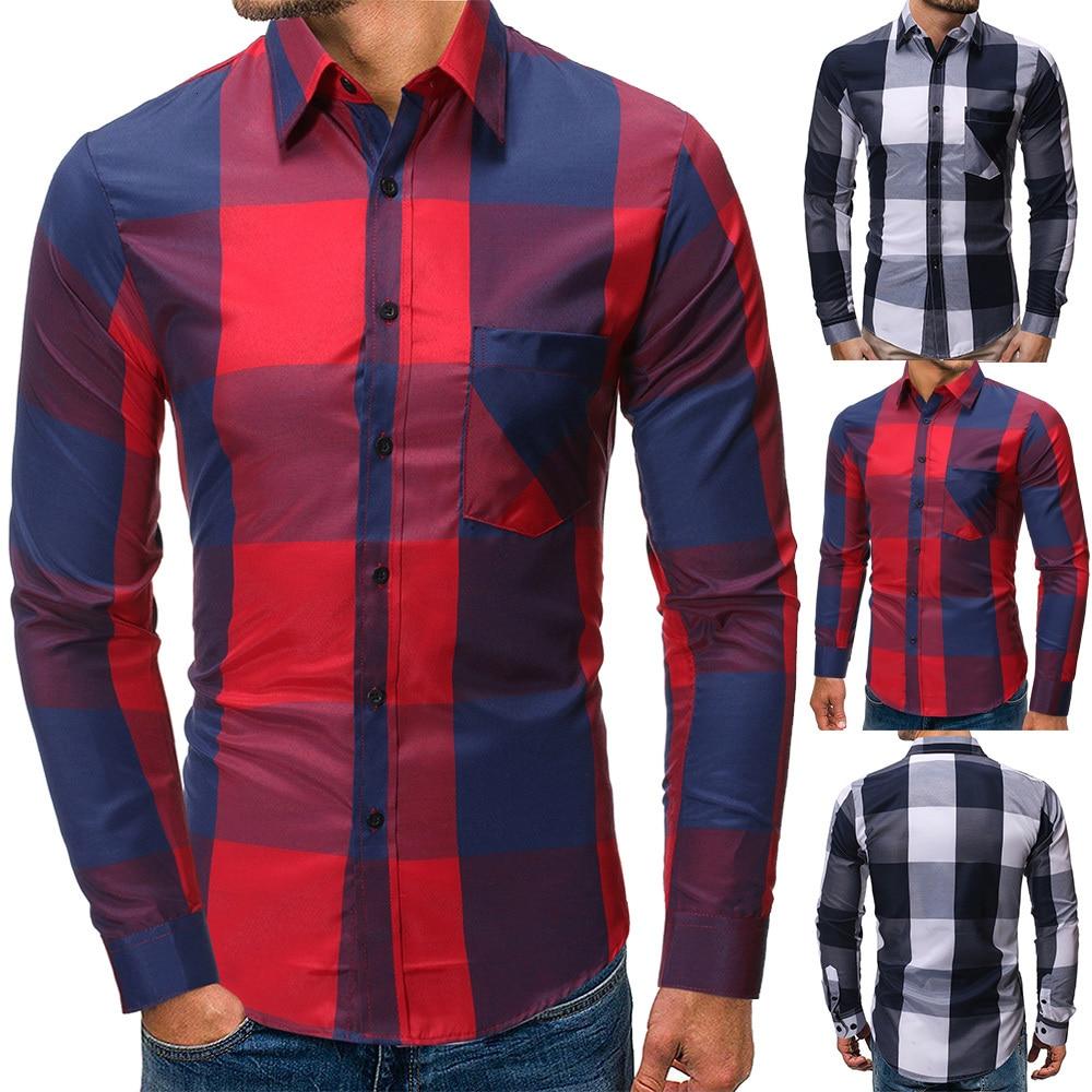 2019 Men Fashion Casual Long Sleeved Printed Shirt Slim Fit Male Social Business Dress Shirt Brand Men Clothing Soft Comfortable 7042