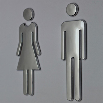 Woman & Man Toilet Door High End Stickers