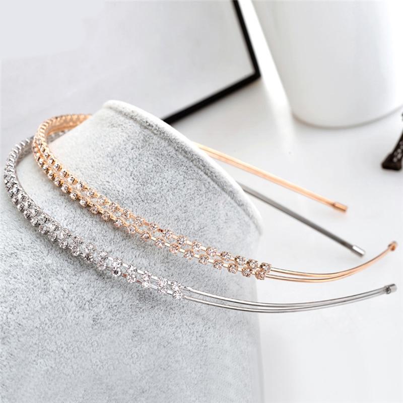 1PC Fashion Crystal Rhinestone Pearls Wave Hairband Hair Hoop Women Bridal Wedding Hair Accessories Crown Headband Headwear