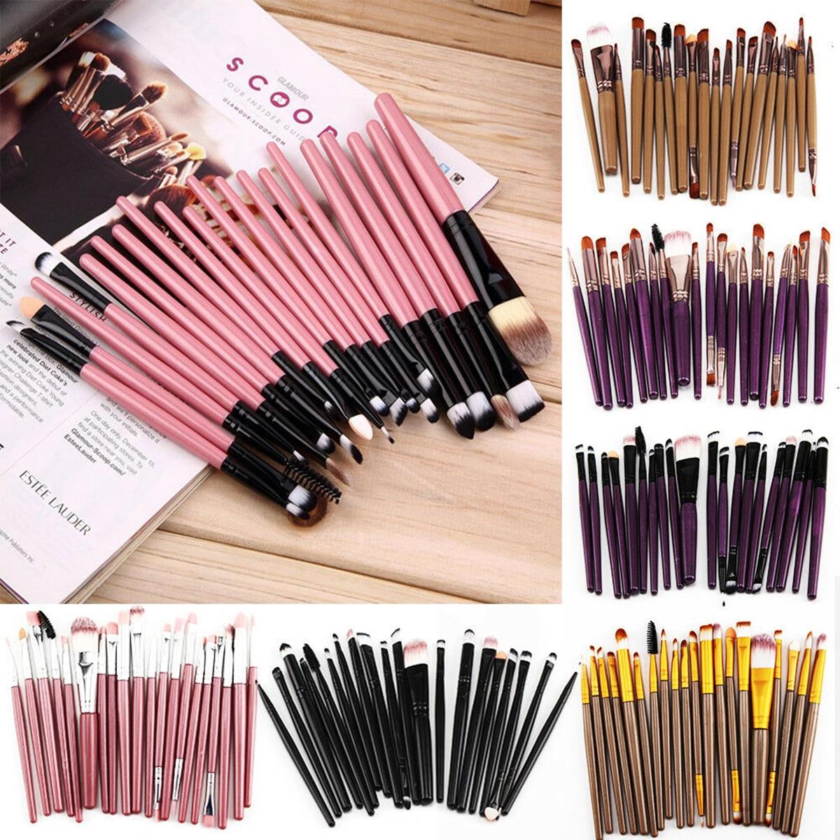 Купить 20 шт набор кисточек для макияжа профессиональные пластик ручка