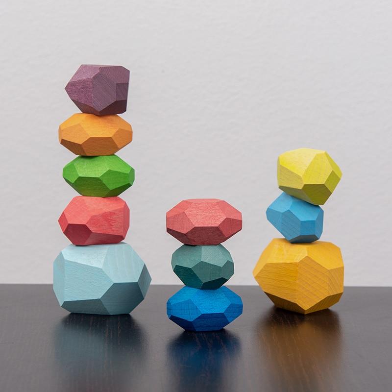 Tumi Ishi bois équilibrage pierres empilées arc-en-ciel ensemble jeux colorés roches en bois pierres en bois bloc de construction Montessori jouets