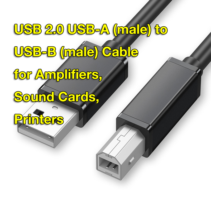 USB 2.0 Type A to Type B Printer Cable Cord Compatible with Piano, Midi Controller, Midi Keyboard, Audio Interface Recording