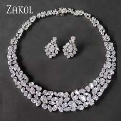 ZAKOL Brand White AAA+ CZ Zirconia Earrings Necklace Jewelry Set for Women Luxury Bridal Wedding Dress FSSP2002
