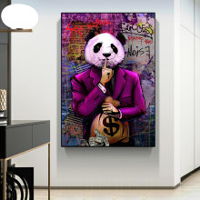 Graffiti arte pinturas a óleo dinheiro dólar panda arte da parede lona posters e cópias moderno imagem parede para sala de estar decoração casa