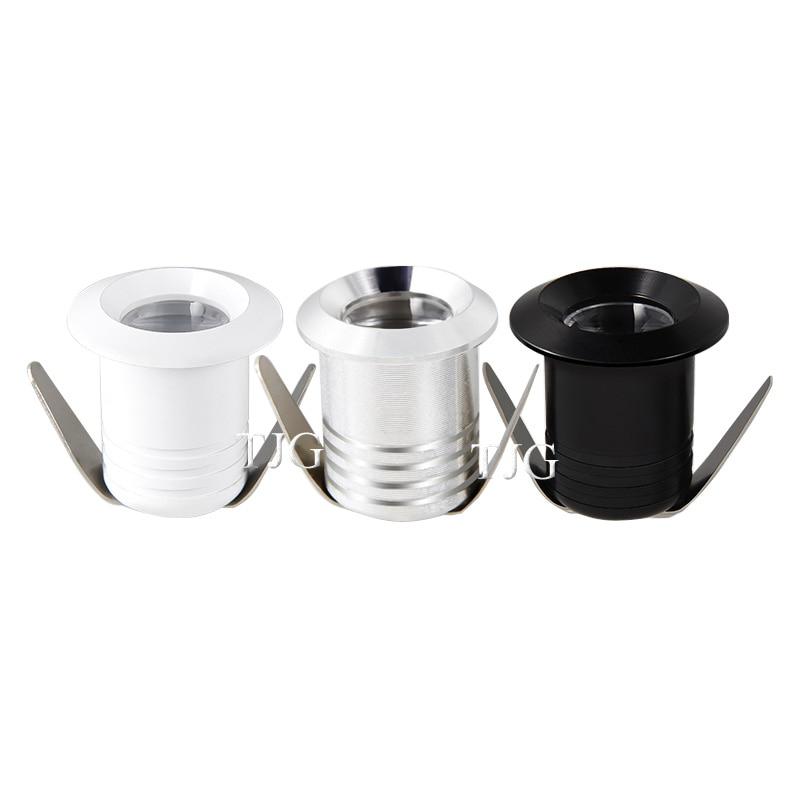 1 w 3 led spotlight gabinete mini luz de ponto recessed para baixo luz armário vitrine display luz AC85-265V 12 v corpo alumínio