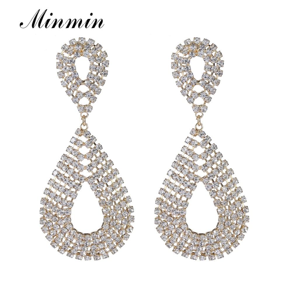 Largo Pendientes de Cristal Diamante Nupcial Diamante de Imitación Plata Colgante Boda Baile de graduación