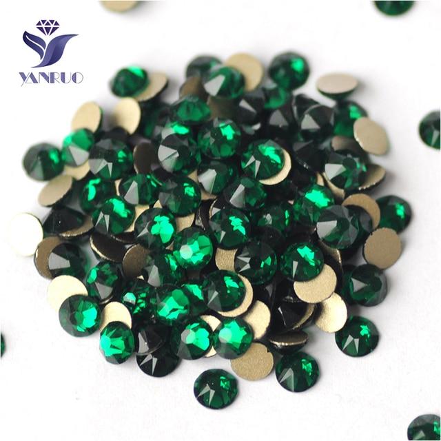 YANRUO 2088NoHF pierres émeraude verte   Toutes les tailles, Flatback 3D Nail Art paillettes, Strass cristal pierres vertes, Strass Non Hotfix