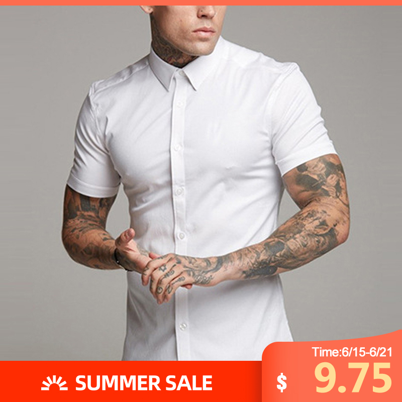 Mens Plus Casual Tops Collar Neck Summer Muscle Tee Formal Business Shirt Tops