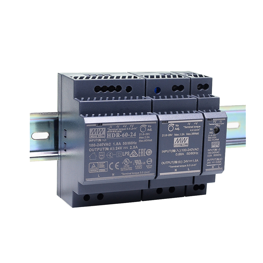 Original Mean Well HDR-15 30 60 100 150 series DC 5V 12V 15V 24V 48V meanwell Ultra Slim Step Shape DIN Rail Power Supply-0