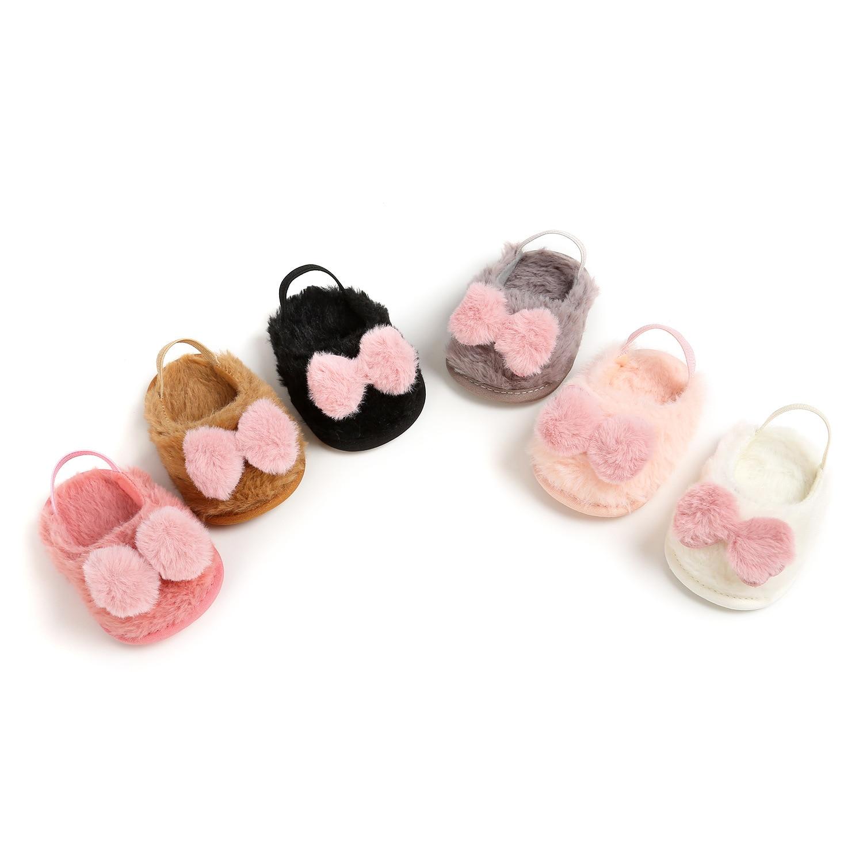 0-18M Newborn Infant Baby Girls Crib Shoes Soft Plush Bow Princess Shoes Toddler Girls Gifts