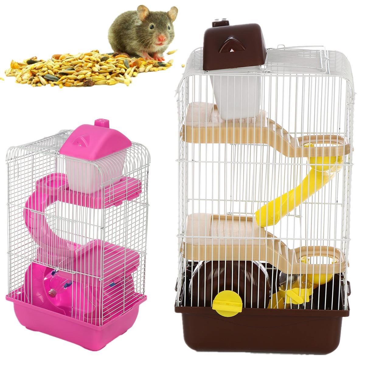 Transparent Diy 3 Floors Storey Gorgeous Hamster Cage Pet Small Animals Castle Roller Slide House Multi-function Plastic Metal
