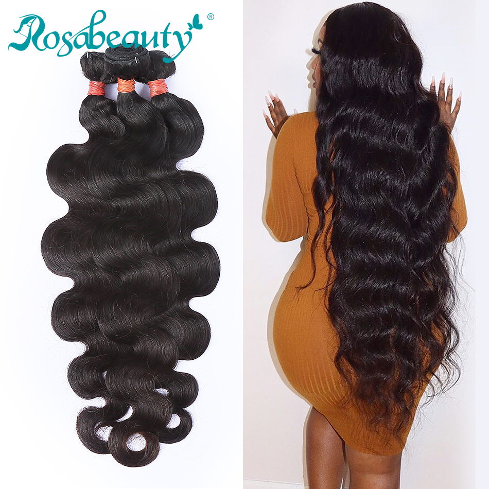 RosaBeauty 26 28 30 32 34 <font><b>40</b></font> Inch Brazilian Hair Weave 1 3 4 Bundles Body Wave <font><b>100</b></font>% Remy Human Hair Extensions Weft image