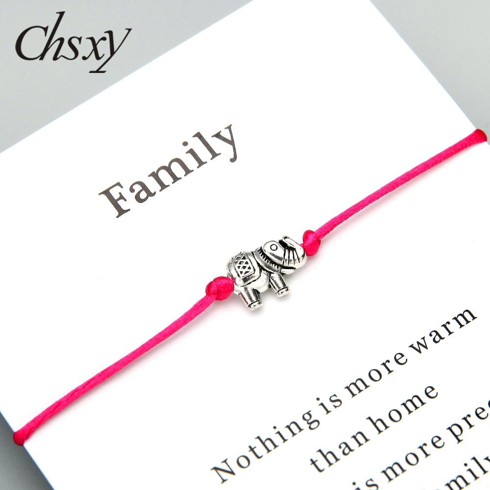 Chsxy antigo prata cor elefante desejo pulseira all-match 12 cores amizade fio vermelho pulseiras para presente masculino