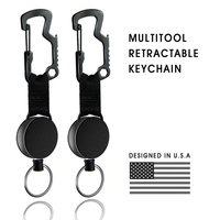 Zayex novo multifuncional retrátil porta-chaves titular crachá com cabo de aço chaveiro abridor de garrafa para homens