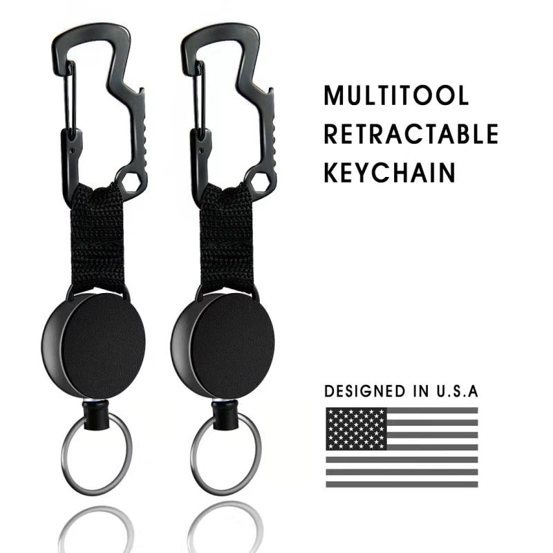 Zayex New Multifunction Retractable Key Chain Badge Holder With Steel Cable  Key Chain Bottle Opener For Mens
