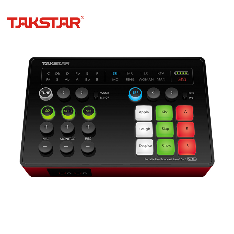 TAKSTAR SC-M1 Webcast Live Broadcasting Sound Card Portable K Song Anchor Audio Card For Phone Computer PC