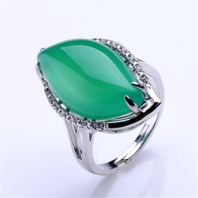 fine  jewelry s925 pure silver yellow  natural  jade Chalcedony ring free shipping
