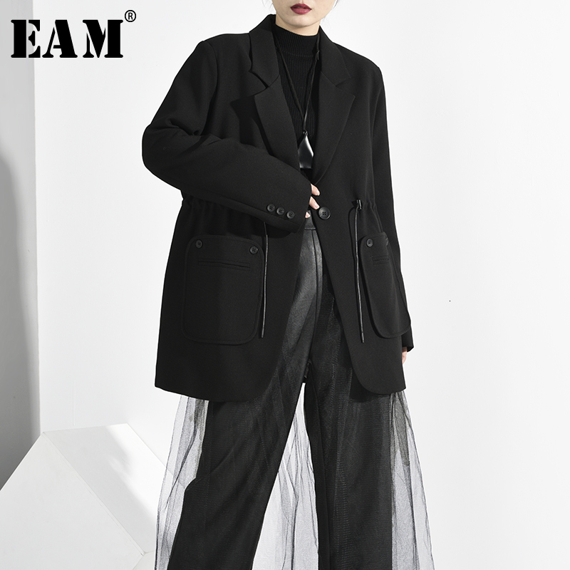 [EAM]  Women Black Drawstring Pocket Blazer New Lapel Long Sleeve Loose Fit  Jacket Fashion Tide Spring Autumn 2020 1H7920