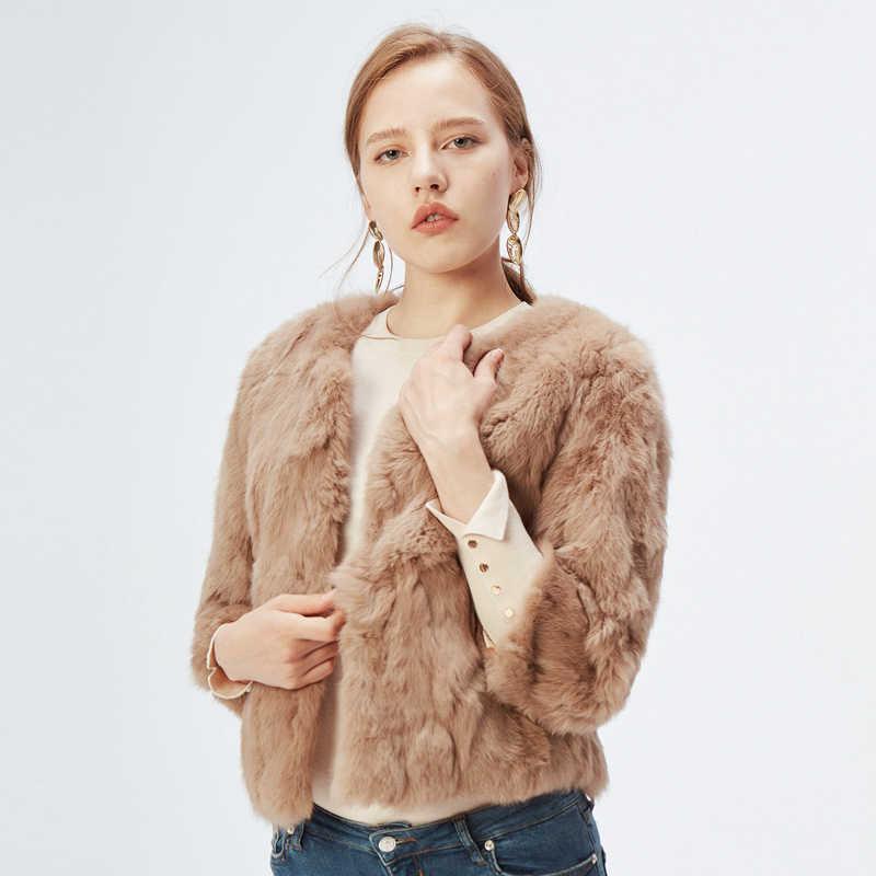 Orijinal tam Pelt kürk ceket kadın tasarım tavşan kürk ceket doğal Wholeskin kürk ceket o-boyun moda ince ince tavşan kürk ceket