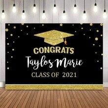 Congrats Graduation Birthday Backdrop Calss of 2021 Black and Gold Bachelor Cap Balloon Grad Congrats Party Banner Photo Booth