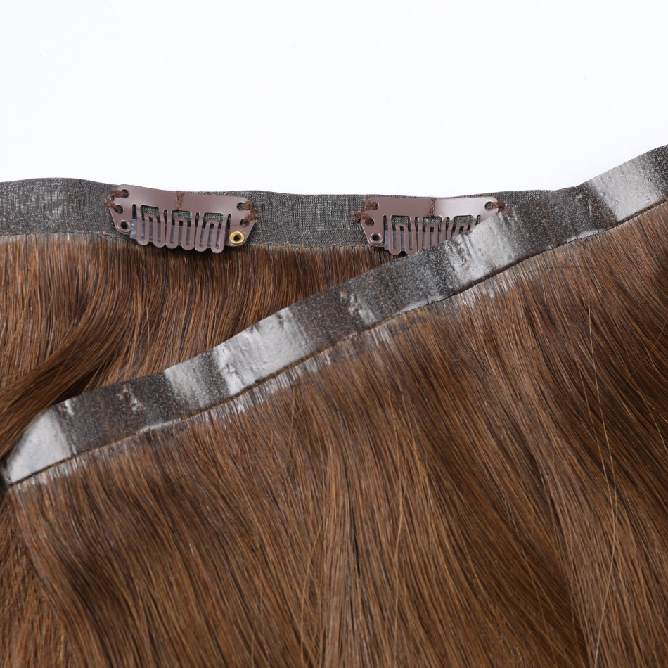 Hotsale Seamless PU Clip In Hair Extensions 7 PCS Set 80-130Grams 14-24 Inches Straight Remy Human Hair Extensions