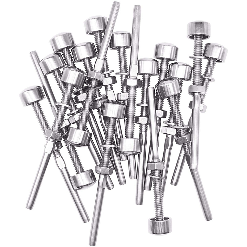 SHGO HOT-20 Pack Brushed Stainless Dome End Caps Swage Threaded Stainless Cable Tensioner For 1/8 Inch Cable Deck Railing System