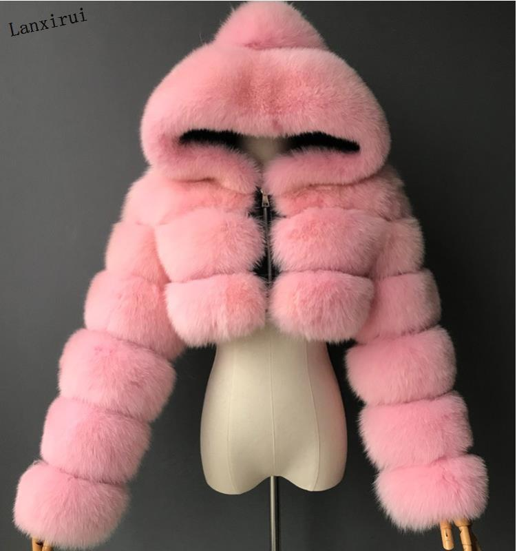 High Quality Furry Cropped Faux Fur Coats and Jackets Women Fluffy Top Coat with Hooded Winter Fur Jacket manteau femme|Faux Fur| - AliExpress