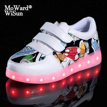 10 видов стилей светящиеся кроссовки для детей со светодиодными огнями для светящейся подошвой Обувь со светодиодной подсветкой для мальчи...