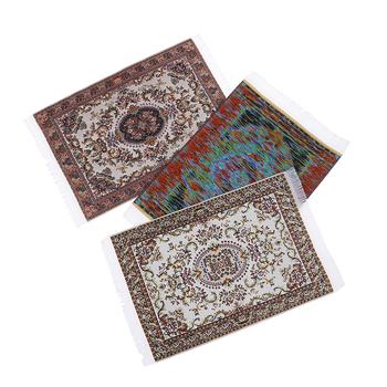 1 12 skala Dollhouse miniaturowy turecki styl dywan do składania dywan Mat wykładziny podłogowe dla lalek dom dowolne pokoje dekoracje mebli tanie i dobre opinie JETTING Tkaniny Unisex 1 12 Dollhouse Rug 3 lat Symulacja pokoju meble
